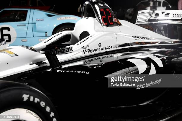 Closeup detail of redesigned car set to debut in the 2018 Verizon IndyCar Series during photo shoot at Classic Car Club Manhattan at Pier 76 New York...