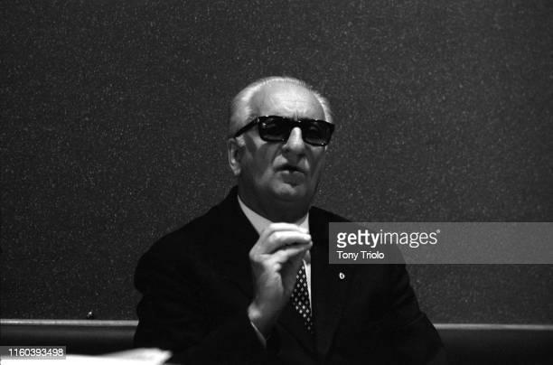 Closeup portrait of Ferrari founder Enzo Ferrari in his factory office. Maranello, Italy 7/20/1964 CREDIT: Tony Triolo