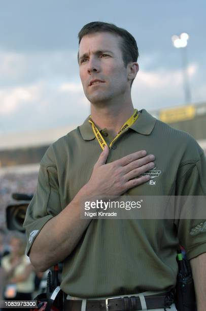 Crown Royal 400 Closeup of Joe Gibbs Racing president JD Gibbs during national anthem before race at Richmond International Raceway NASCAR Cup Series...