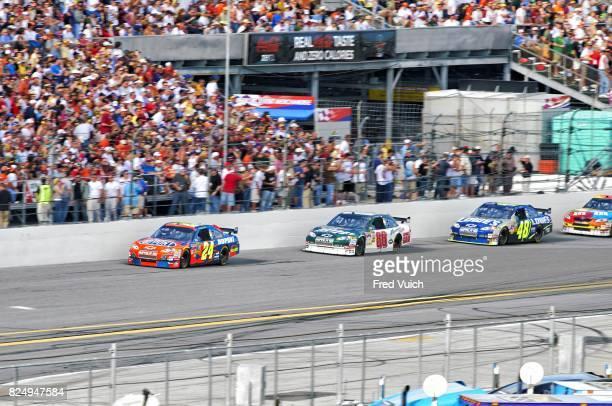 Daytona 500 Hendrick Motorsports Jeff Gordon in action leading vs Dale Earnhardt Jr and Jimmie Johnson at Dayton International Speedway Daytona Beach...