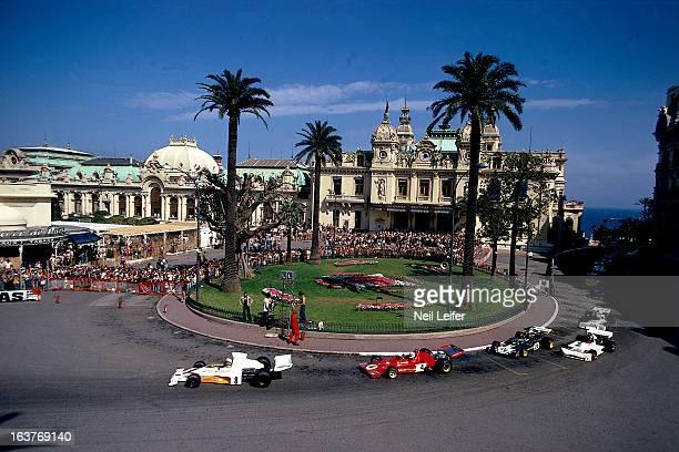 Monaco Grand Prix Peter Revson and Arturo Merzario in action making turn during race at Circuit de Monaco Monte Carlo Monaco 6/3/1973 CREDIT Neil...