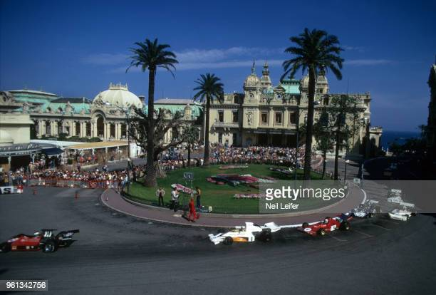 Monaco Grand Prix Yardley McLaren Peter Revson and Ferrari Arturo Merzario in action making turn during race at Circuit de Monaco Monte Carlo Monaco...