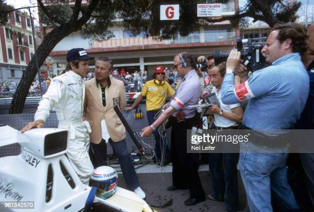 Monaco Grand Prix Yardley McLaren Peter Revson being interviewed by Wide World of Sports television announcer Bill Flemming and crew at Circuit de...