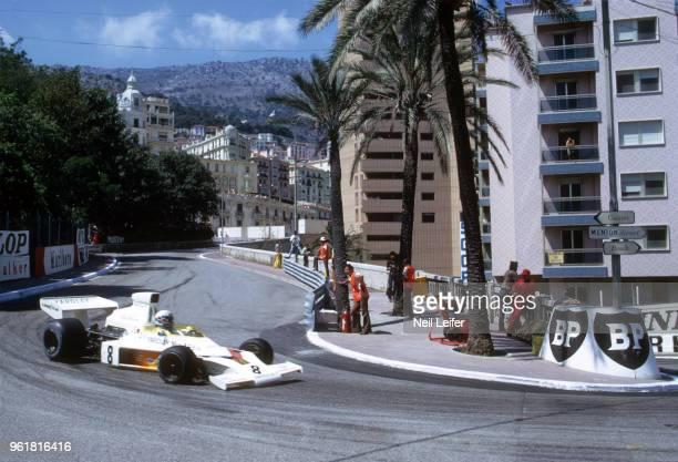 Monaco Grand Prix Yardley McLaren Peter Revson in action during race at Circuit de Monaco Monte Carlo Monaco 6/3/1973 CREDIT Neil Leifer