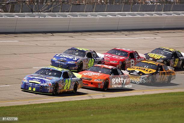 Auto Racing NASCAR Aaron's 499 Jeff Gordon in action leading race vs Jimmie Johnson Tony Stewart Dale Earnhardt Jr Matt Kenseth and Kasey Kahne...