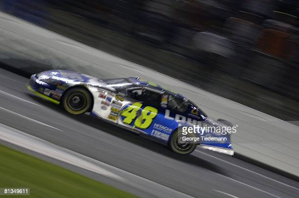 Auto Racing NASCAR Coca Cola 600 Jimmie Johnson in action during race Concord NC 5/29/2005