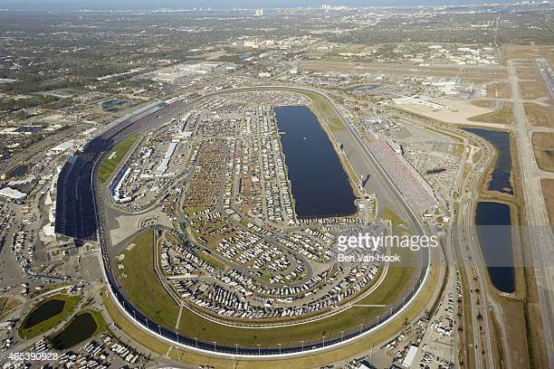 NASCAR Daytona 500 Aerial view of track taken from Goodyear blimp above Daytona International Speedway Sprint Cup Series Daytona Beach FL CREDIT Ben...