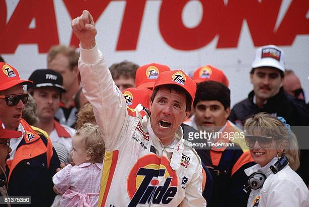 Auto Racing NASCAR Daytona 500 Closeup of Darrell Waltrip victorious after race Daytona FL 2/19/1989