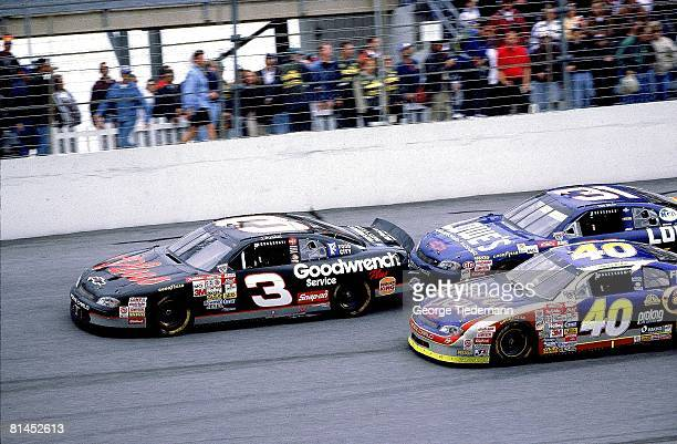 Auto Racing NASCAR Daytona 500 Dale Earnhardt and Mike Skinner in action during race Daytona FL 2/15/1998