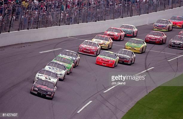 Auto Racing NASCAR Daytona 500 Dale Earnhardt in action leading pack during race Daytona FL 2/15/1998