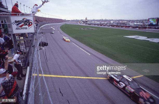 Auto Racing NASCAR Daytona 500 Dale Earnhardt in action winning race at Daytona International Speedway in Daytona Beach Florida 2/15/1998