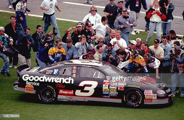 NASCAR Daytona 500 Dale Earnhardt Sr victorious on grass with crew after winning race at Daytona International SpeedwayDaytona Beach FL...