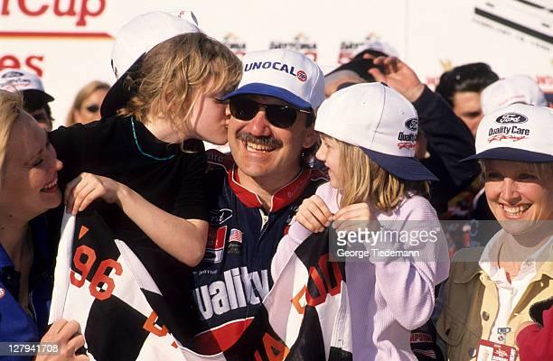 NASCAR Daytona 500 Dale Jarrett victorious with daughters Natalee and Karsyn after winning race at Daytona International Speedway Daytona Beach FL...