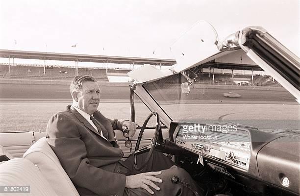Auto Racing NASCAR Daytona 500 Portrait of NASCAR founder Bill France Sr sitting in car Daytona FL 2/13/1965