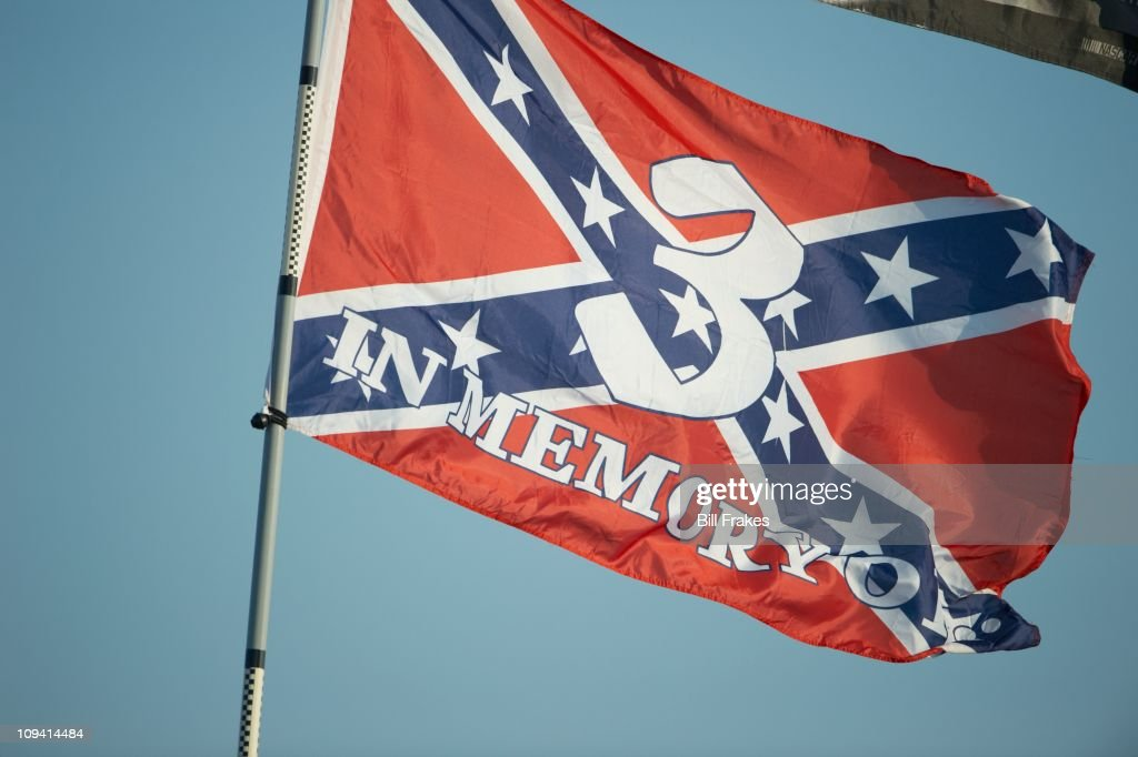 View of Dale Earnhardt Sr. #3 Confederate flag from infield before race at Daytona International Speedway. 10th anniversary of Earnhardt's death.Daytona Beach, FL 2/19/2011CREDIT: Bill Frakes