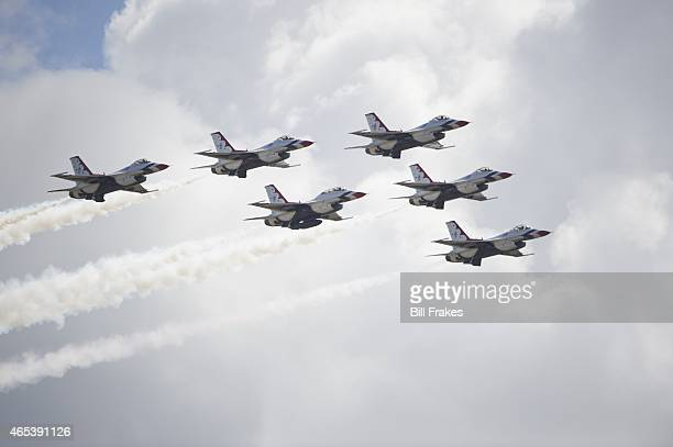 NASCAR Daytona 500 View of US Air Force Thunderbirds performing aerial flyover in Delta formation during race at Daytona International Speedway...