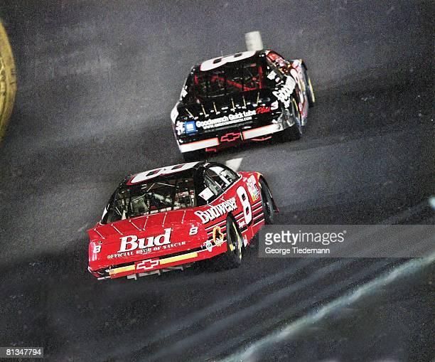 Auto Racing NASCAR Exide Batteries 400 Dale Earnhardt Sr in action vs son Dale Earnhardt Jr Richmond VA 9/11/1999