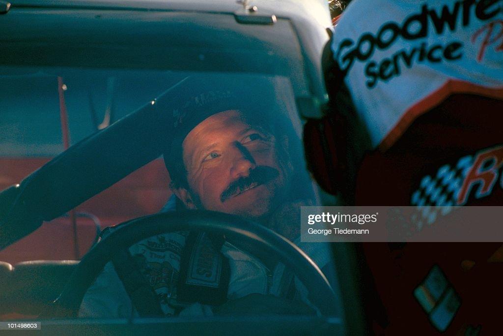 View of Dale Earnhardt (3) in car before race at Richmond International Raceway. Richmond, VA 9/5/1997
