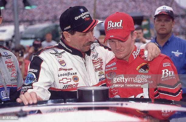 Auto Racing NASCAR Goracingcom 500 Closeup of Dale Earnhardt Sr and Dale Earnhardt Jr before race at Bristol Motor Speedway Bristol TN 8/26/2000