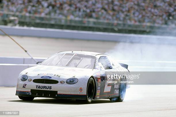 NASCAR Napa 500 Rusty Wallace in action blowing out engine during race at California Speedway View of smoke in rear Fontana CA 5/3/1998CREDIT George...