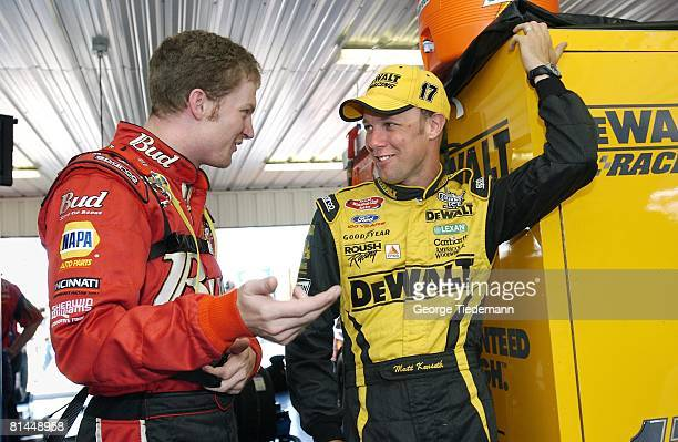Auto Racing NASCAR Pennsylvania 500 Matt Kenseth with Dale Earnhardt Jr before race at Pocono Raceway Long Pond PA 7/27/2003
