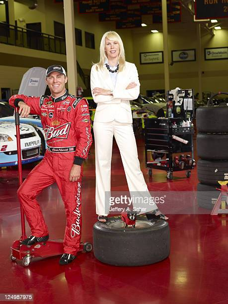Portrait of Kevin Harvick with wife Delana and dog Lo during photo shoot at his Kevin Harvick Inc. Facility. Kernersville, NC 7/21/2011 CREDIT:...