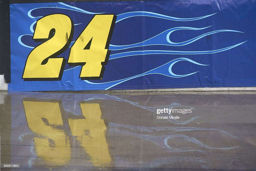 Closeup Of No 24 Of Jeff Gordon Logo On Wall During Race On Sunday