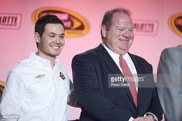 Season Preview: View of Kyle Larson and team owner Chip Ganassi on stage for Ganassi Media Day at Charlotte Convention Center. Charlotte, NC...