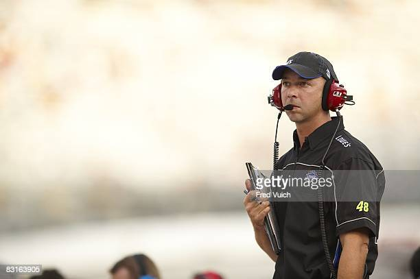 NASCAR Sharpie 500 Crew chief Chad Knaus of Jimmie Johnson during practice before race at Bristol Motor Speedway Bristol TN 8/22/2008 CREDIT Fred...