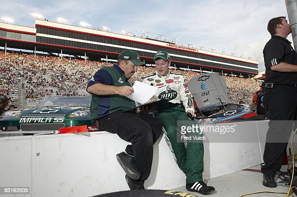 NASCAR Sharpie 500 Dale Earnhardt Jr with crew chief Tony Eury Jr during practice before race at Bristol Motor Speedway Bristol TN 8/22/2008 CREDIT...