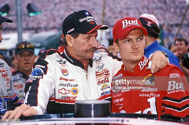 NASCAR Sharpie 500 Dale Earnhardt Sr with his son driver Dale Earnhardt Jr before race at Bristol Motor Speedway Earnhardt Sr owns the Budweiser...