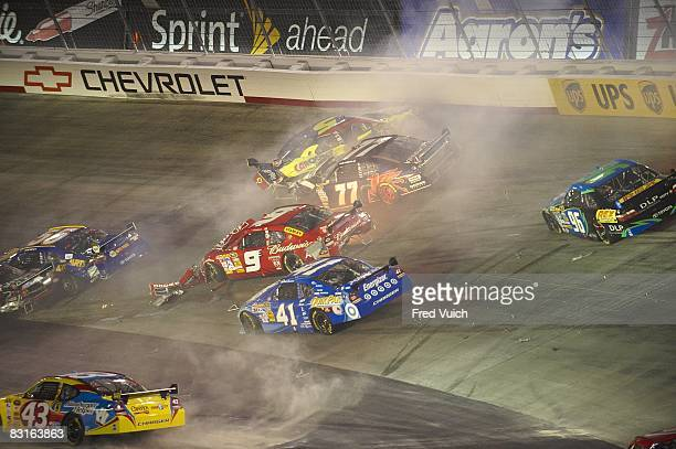 NASCAR Sharpie 500 Reed Sorenson Kasey Kahne Sam Hornish Jr and Casey Mears in action during crash and wreck on on lap 216 during race at Bristol...