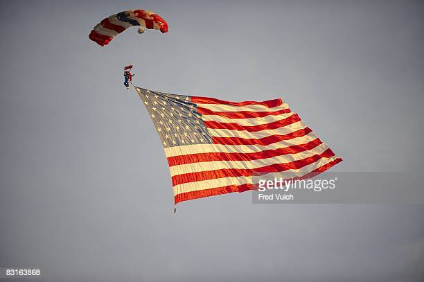 NASCAR Sharpie 500 View of USA flag parachuting onto track before start of race at Bristol Motor Speedway Bristol TN 8/23/2008 CREDIT Fred Vuich
