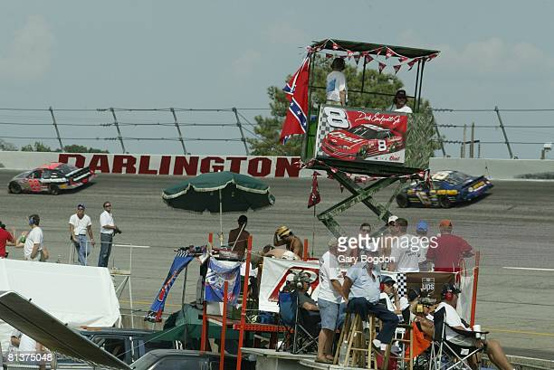 Auto Racing NASCAR Southern 500 Fans watch miscellaneous action from infield during race at Darlington Raceway Darlington SC 8/31/2003