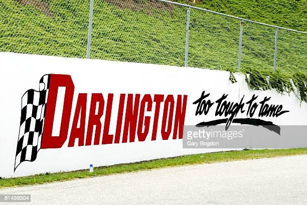 Auto Racing: NASCAR Southern 500, View of TOO TOUGH TO TAME sign at stadium, Darlington Raceway, Darlington, SC 8/31/2003