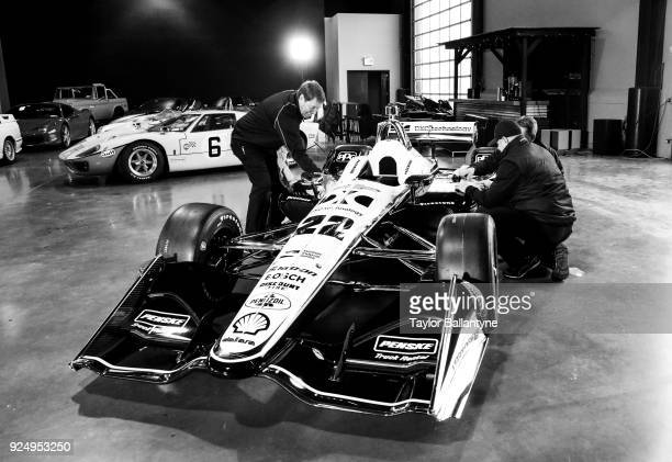 Overall view of redesigned car set to debut in the 2018 Verizon IndyCar Series during photo shoot at Classic Car Club Manhattan at Pier 76 New York...