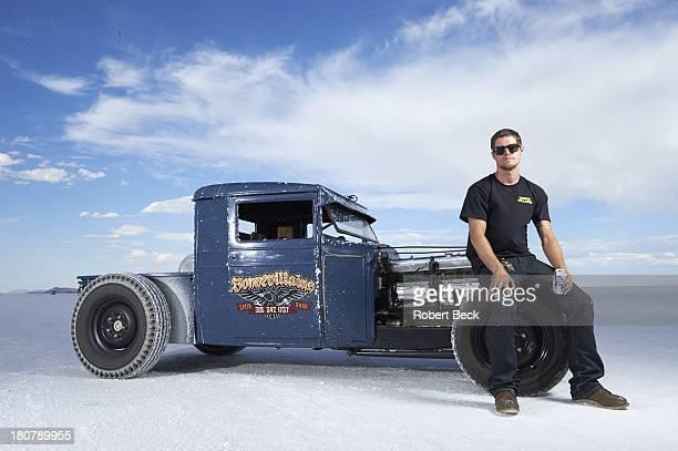Speed Week Portrait of land speed racer Greg Hebard of Salt Lake City UT posing in front of his 1929 Chevy rat rod during photo shoot at Bonneville...