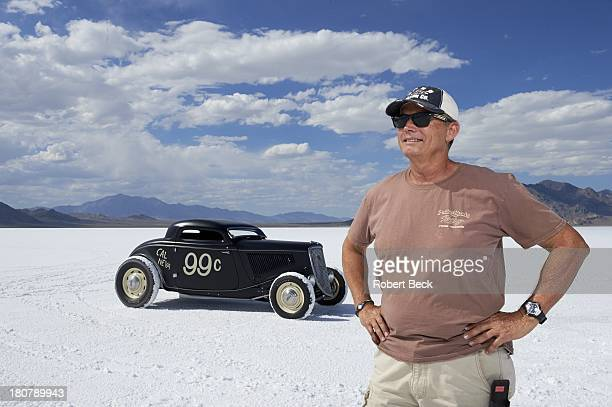 Speed Week Portrait of land speed racer Mike Hamel of Reno NV posing with his 1933 Ford during photo shoot at Bonneville Salt Flats Race Track...