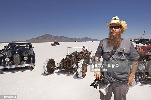 Speed Week Portrait of photographer Jimmy Anderson of Salt Lake City UT posing during photo shoot at Bonneville Salt Flats Race Track Wendover UT...