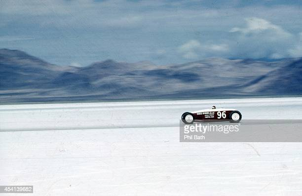 View of car in action during speed trials at Bonneville Speedway Car recorded speed of 20207 mph becoming the first roadster to break 200 mph barrier...