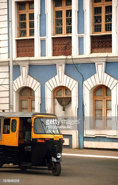 auto rickshaw and old panjim architecture - panjim stock photos and pictures