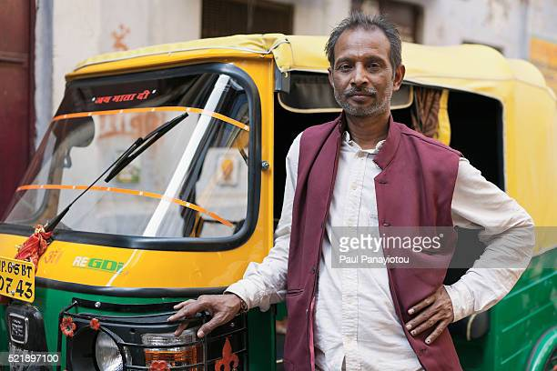 auto rickshaw driver in varanasi, india - auto rickshaw stock pictures, royalty-free photos & images