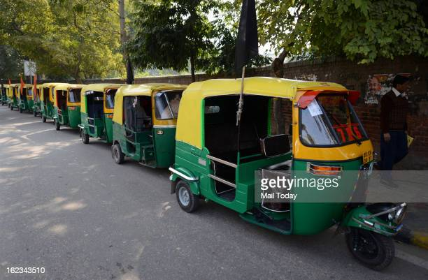 Auto Rickshaw parked during the second day of a strike called by trade unions against the ruling UPA government's economic policies Operations at...
