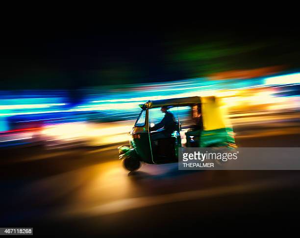 auto rickshaw taxi india - old delhi stock photos and pictures