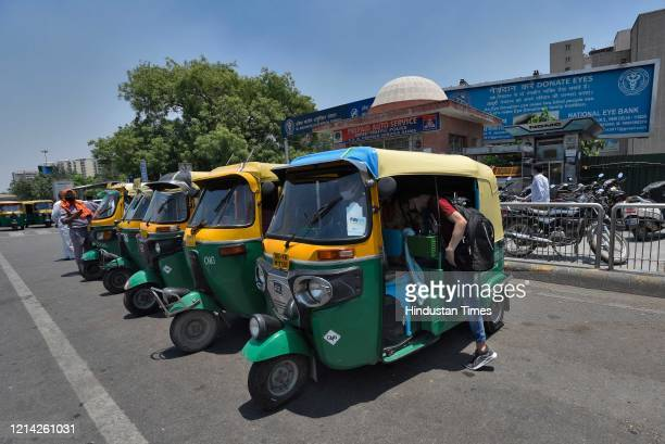 Auto Rickshaws lined up after government eased lockdown restriction at AIIMS on May 20 2020 in New Delhi India
