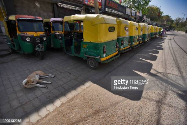 Auto rickshaws lined up on day eleven of the 21day nationwide lockdown to curb the spread of coronavirus at Sadar Bazar on April 4 2020 in New Delhi...