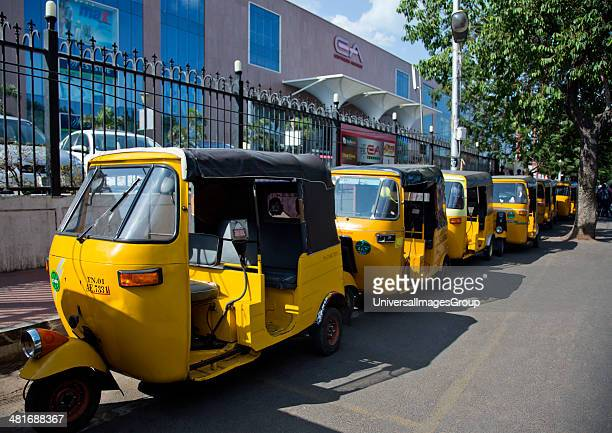 Auto rickshaws parked in front of a shopping mall Express Avenue Chennai Tamil Nadu India