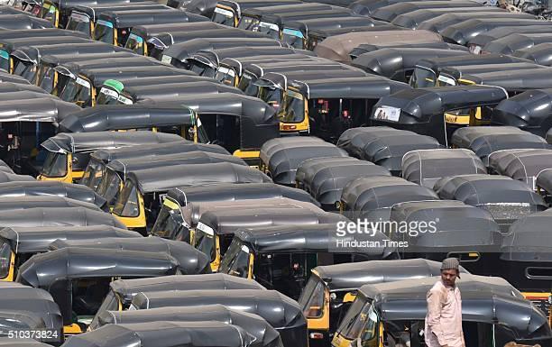 Auto rickshaws queued up at Bandra following auto rickshaw union strike on February 15 2016 in Mumbai India Around one lakh auto rickshaw drivers...