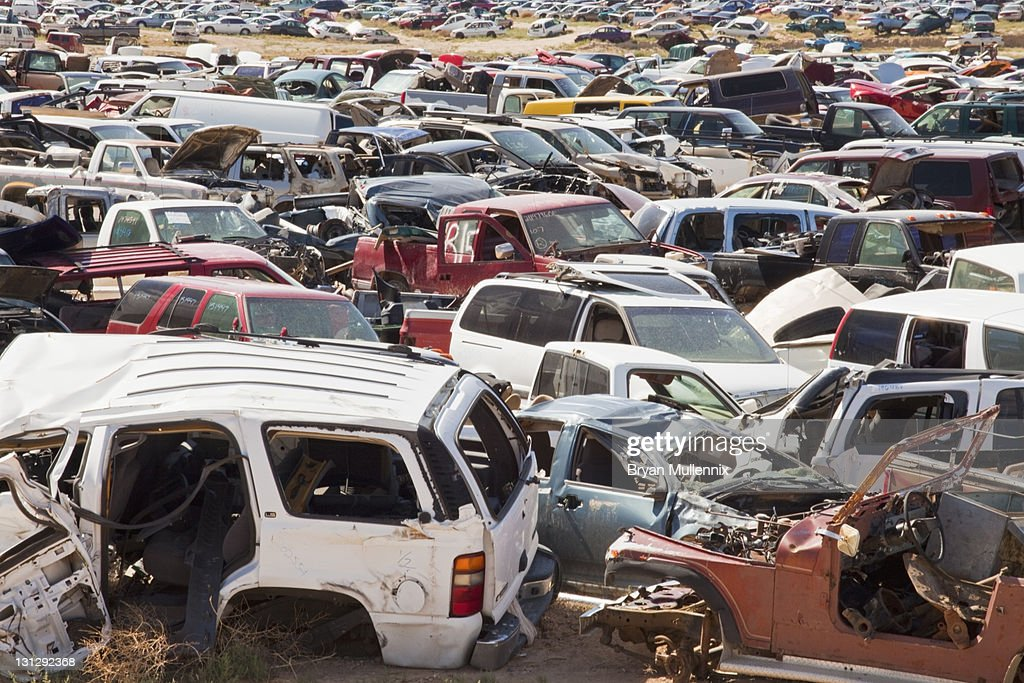 Auto Salvage Yard Stock Photo   Getty Images