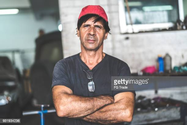 auto service worker/owner - one mature man only stock photos and pictures